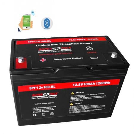 batteries de maison de rv, version bluetooth de batterie 12v100ah lifepo4 pour rv